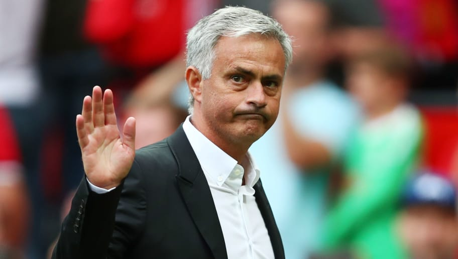 MANCHESTER, ENGLAND - AUGUST 13: Jose Mourinho, Manager of Manchester United shows appreciation to the fans after the Premier League match between Manchester United and West Ham United at Old Trafford on August 13, 2017 in Manchester, England.  (Photo by Dan Istitene/Getty Images)