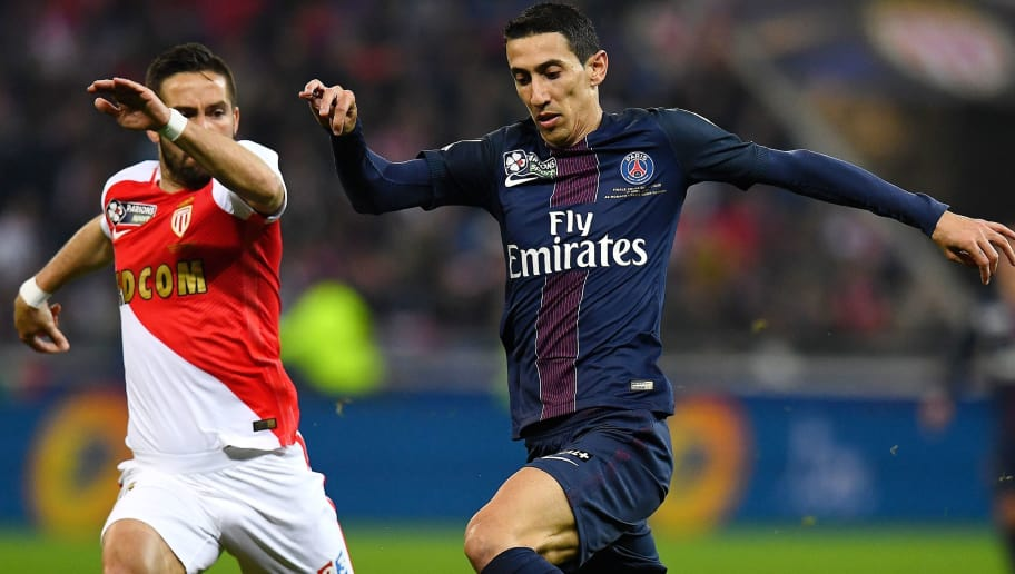 Paris Saint-Germain's Argentinian forward Angel Di Maria (R) vies with Monaco's Portuguese midfielder Bernardo Silva during the French League Cup final football match Monaco (ASM) vs Paris Saint-Germain (PSG) on April 1, 2017 at the Parc Olympique Lyonnais stadium in Decines-Charpieu, near Lyon.  / AFP PHOTO / FRANCK FIFE        (Photo credit should read FRANCK FIFE/AFP/Getty Images)