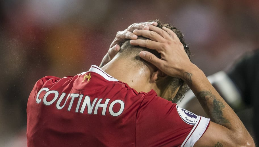 HONG KONG, HONG KONG - JULY 22: Liverpool FC midfielder Philippe Coutinho reacts during the Premier League Asia Trophy match between Liverpool FC and Leicester City FC at Hong Kong Stadium on July 22 2017, in Hong Kong, Hong Kong. (Photo by Victor Fraile/Getty Images)