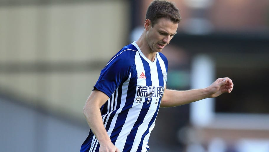 BURSLEM, ENGLAND - AUGUST 01:  Jonny Evans of West Bromwich Albion during the pre season friendly match against Port Vale at Vale Park on August 1, 2017 in Burslem, England. (Photo by Clint Hughes/Getty Images)