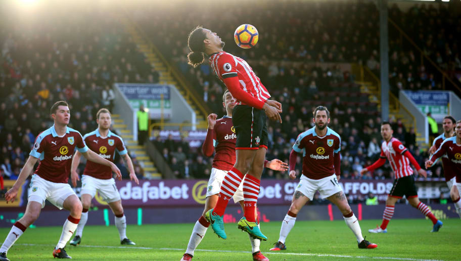BURNLEY, ENGLAND - JANUARY 14:  Virgil van Dijk of Southampton controls the ball in the box during the Premier League match between Burnley and Southampton at Turf Moor on January 14, 2017 in Burnley, England.  (Photo by Alex Livesey/Getty Images)