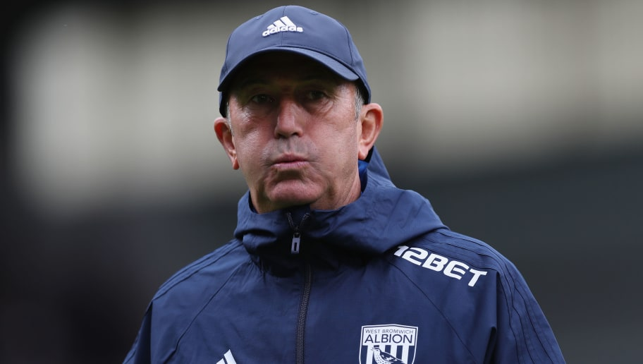 BURNLEY, ENGLAND - AUGUST 19: Tony Pulis, Manager of West Bromwich Albion looks on prior to the Premier League match between Burnley and West Bromwich Albion at Turf Moor on August 19, 2017 in Burnley, England.  (Photo by Ian MacNicol/Getty Images)