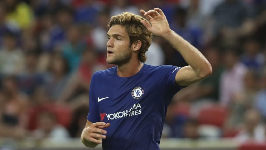 SINGAPORE - JULY 25:  Marcos Alonso of Chelsea reacts during the International Champions Cup 2017 match between Bayern Muenchen and Chelsea FC at National Stadium on July 25, 2017 in Singapore, Singapore.  (Photo by Alexander Hassenstein/Bongarts/Getty Images)