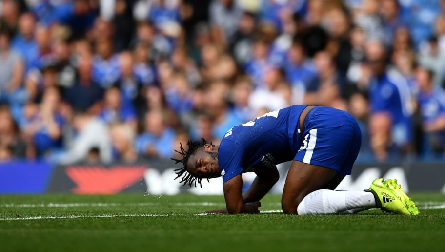 LONDON, ENGLAND - AUGUST 12:  Michy Batshuayi of Chelsea reacts after a challenge during the Premier League match between Chelsea and Burnley at Stamford Bridge on August 12, 2017 in London, England. (Photo by Dan Mullan/Getty Images)