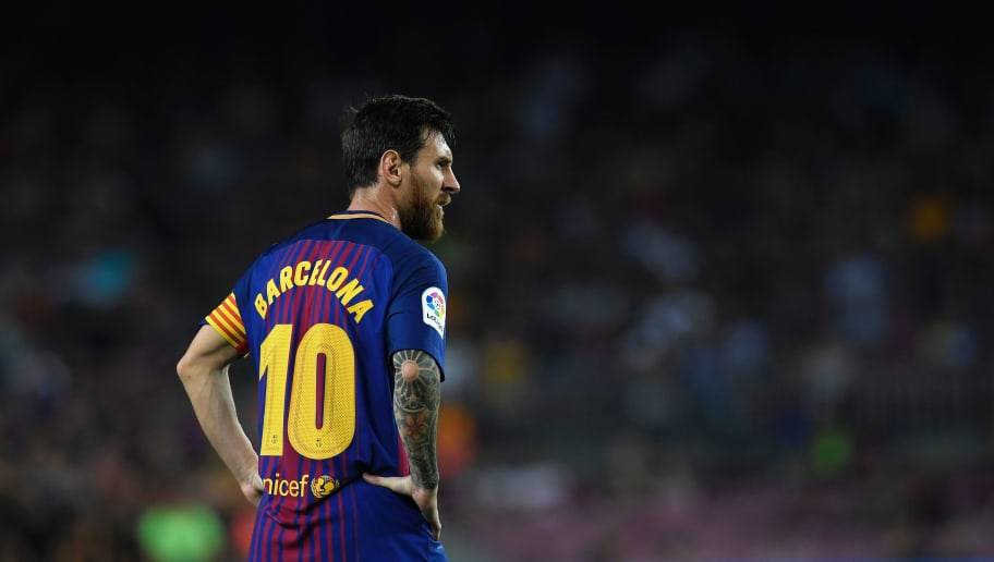 Barcelona's Argentinian forward Lionel Messi looks on during the Spanish league footbal match FC Barcelona vs Real Betis at the Camp Nou stadium in Barcelona on August 20, 2017. / AFP PHOTO / LLUIS GENE        (Photo credit should read LLUIS GENE/AFP/Getty Images)