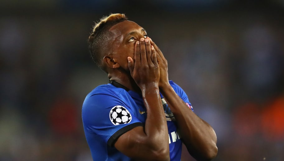 BRUGGE, BELGIUM - SEPTEMBER 14:  Jose Izquierdo of Club Brugge reacts after a missed chance during the UEFA Champions League match between Club Brugge KV and Leicester City FC at Jan Breydel Stadium on September 14, 2016 in Brugge, Belgium.  (Photo by Dean Mouhtaropoulos/Getty Images)