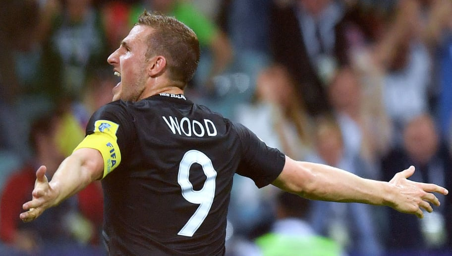 New Zealand's forward Chris Wood celebrates after scoring a goal during the 2017 Confederations Cup group A football match between Mexico and New Zealand at the Fisht Stadium in Sochi on June 21, 2017. / AFP PHOTO / Yuri CORTEZ        (Photo credit should read YURI CORTEZ/AFP/Getty Images)