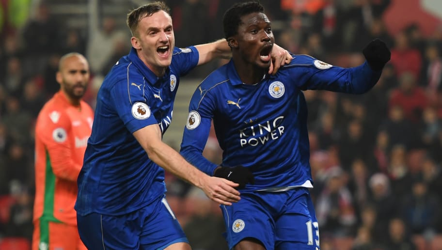 STOKE ON TRENT, ENGLAND - DECEMBER 17: Daniel Amartey of Leicester City (R) celebrates scoring his sides second goal with Andy King of Leicester City (L) during the Premier League match between Stoke City and Leicester City at Bet365 Stadium on December 17, 2016 in Stoke on Trent, England.  (Photo by Michael Regan/Getty Images)