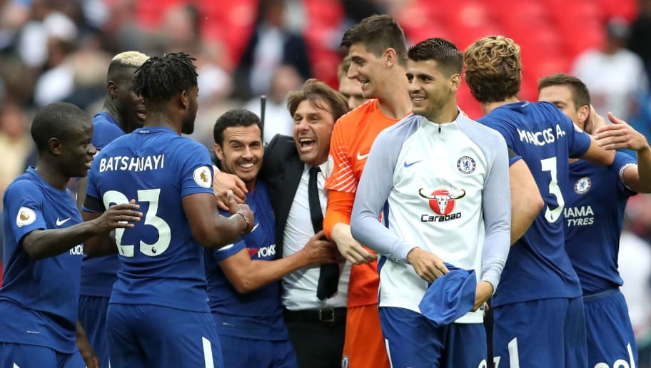 LONDON, ENGLAND - AUGUST 20:  Antonio Conte, Manager of Chelsea celebrates victory with his players after the Premier League match between Tottenham Hotspur and Chelsea at Wembley Stadium on August 20, 2017 in London, England.  (Photo by Dan Istitene/Getty Images)