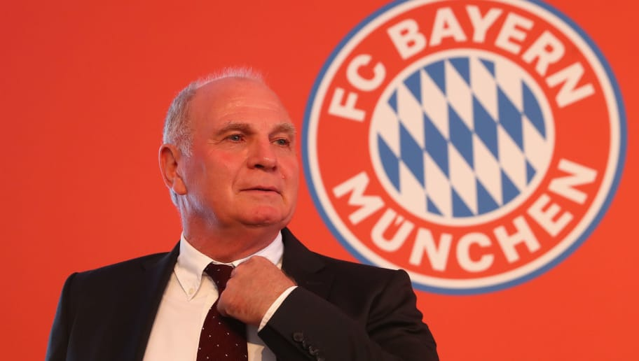 MUNICH, GERMANY - AUGUST 21:  Uli Hoeness, President of FC Bayern Muenchenattends  the opening ceremony of the FC Bayern Campus  at FC Bayern Campus on August 21, 2017 in Munich, Germany.  (Photo by Alexander Hassenstein/Bongarts/Getty Images)