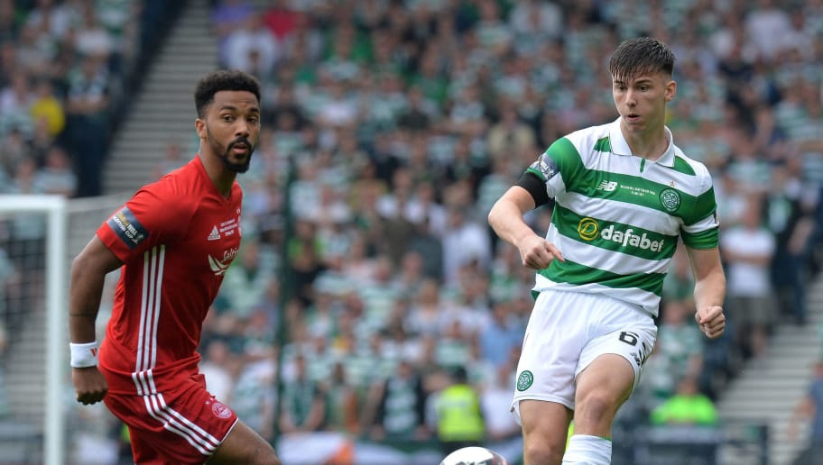 GLASGOW, SCOTLAND - MAY 27: Keiran Tierney of Celtic takes on Shay Logan of Aberdeen during the William Hill Scottish Cup Final between Aberdeen and Celtic at Hampden Park on May 27, 2017 in Glasgow, Scotland. (Photo by Mark Runnacles/Getty Images)