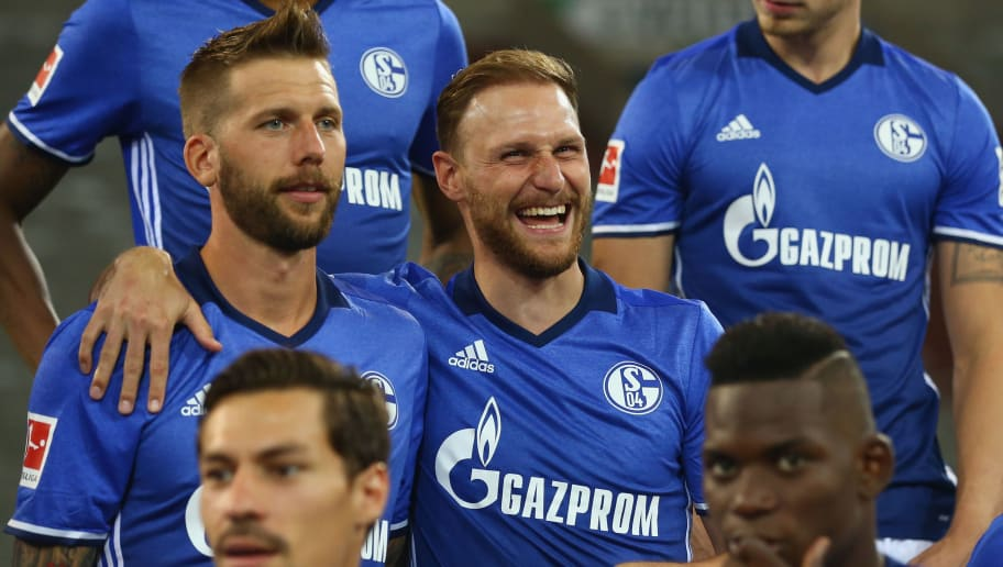 GELSENKIRCHEN, GERMANY - JULY 12: (L-R) Guido Burgstaller and Benedikt Hoewedes of FC Schalke 04 pose during the team presentation at Veltins Arena on July 12, 2017 in Gelsenkirchen, Germany.  (Photo by Christof Koepsel/Bongarts/Getty Images)