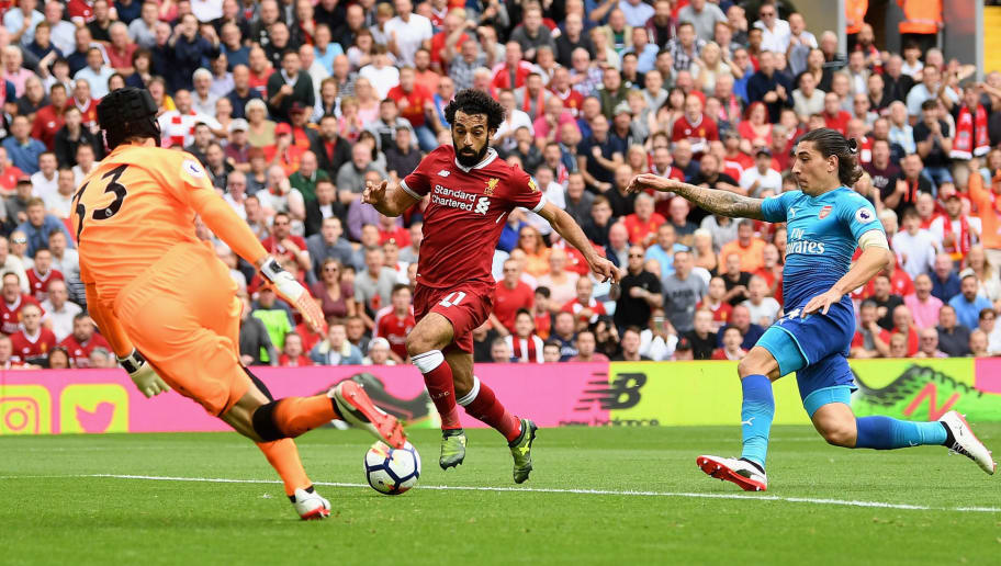 LIVERPOOL, ENGLAND - AUGUST 27: Petr Cech of Arsenal saves from Mohamed Salah of Liverpool during the Premier League match between Liverpool and Arsenal at Anfield on August 27, 2017 in Liverpool, England.  (Photo by Michael Regan/Getty Images)