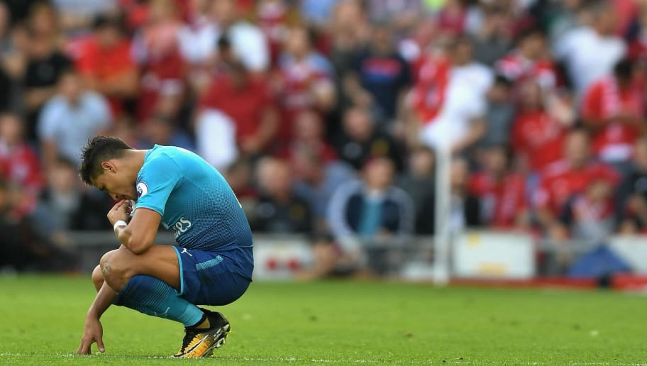 LIVERPOOL, ENGLAND - AUGUST 27:  Alexis Sanchez of Arsenal reacts during the Premier League match between Liverpool and Arsenal at Anfield on August 27, 2017 in Liverpool, England.  (Photo by Michael Regan/Getty Images)
