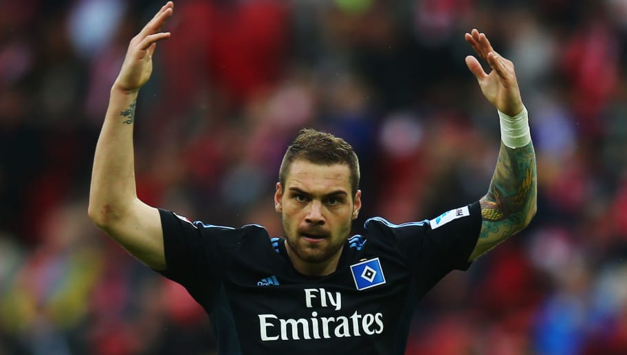 MAINZ, GERMANY - MAY 10:  Pierre-Michel Lasogga of Hamburg reacts to the fans during the Bundesliga match between 1. FSV Mainz 05 and Hamburger SV at Coface Arena on May 10, 2014 in Mainz, Germany.  (Photo by Alex Grimm/Bongarts/Getty Images)