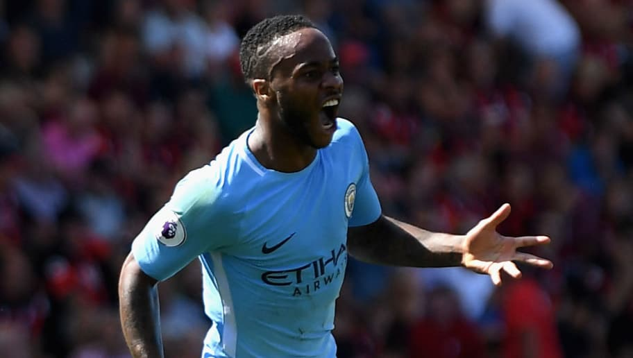 BOURNEMOUTH, ENGLAND - AUGUST 26: Raheem Sterling of Manchester City celebrates scoring his sides second goal during the Premier League match between AFC Bournemouth and Manchester City at Vitality Stadium on August 26, 2017 in Bournemouth, England.  (Photo by Mike Hewitt/Getty Images)