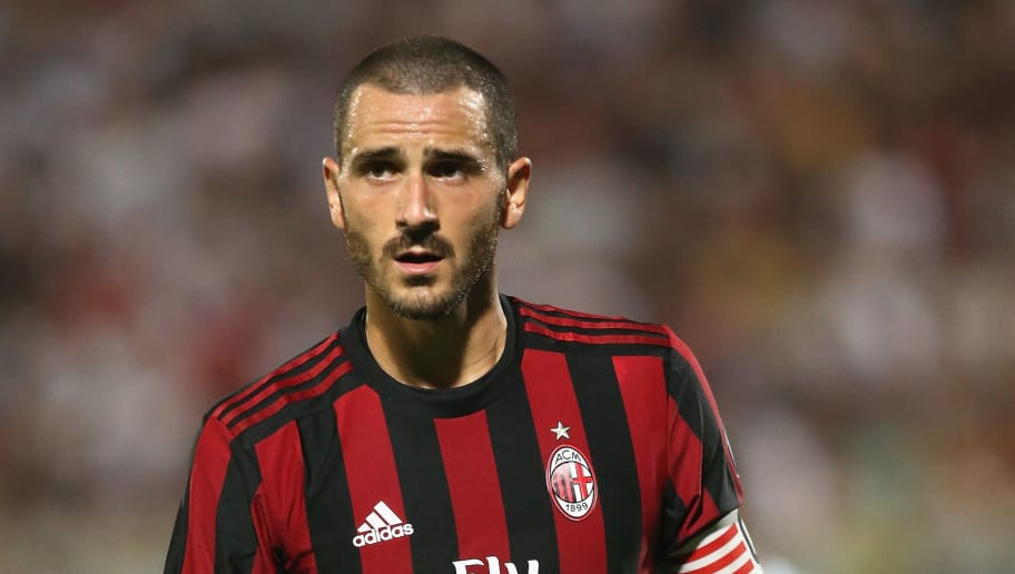 CATANIA, ITALY - AUGUST 09:  Leonardo Bonucci of Milan during the Pre-Season Friendly match between AC Milan and Villareal at Stadio Angelo Massimino on August 9, 2017 in Catania, Italy.  (Photo by Maurizio Lagana/Getty Images)