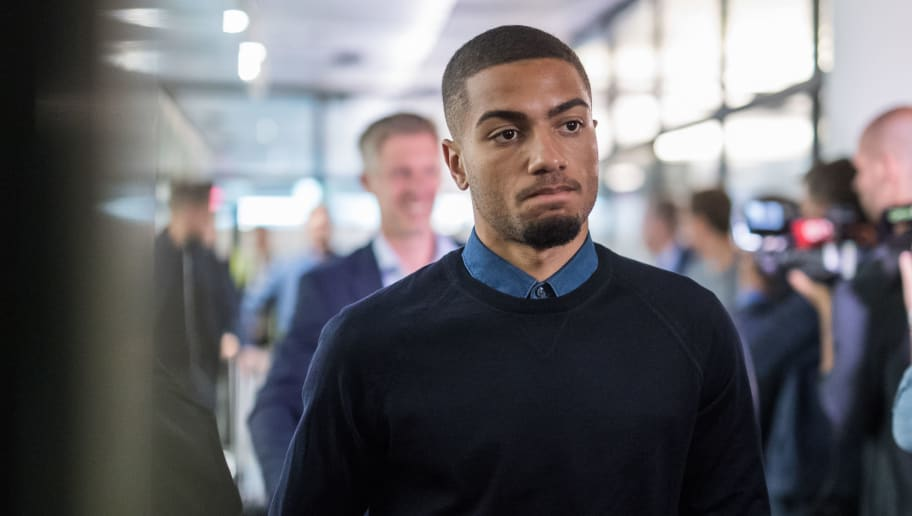 FRANKFURT AM MAIN, GERMANY - JULY 01:  Jeremy Toljan looks on during the Germany U21 National Team arrival at Frankfurt International Airport on July 1, 2017 in Frankfurt am Main, Germany.  (Photo by Simon Hofmann/Bongarts/Getty Images)