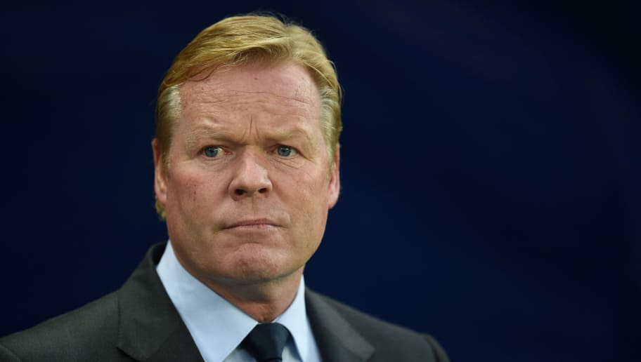 Everton's Dutch manager Ronald Koeman looks on before the English Premier League football match between Manchester City and Everton at the Etihad Stadium in Manchester, north west England, on August 21, 2017. / AFP PHOTO / Oli SCARFF / RESTRICTED TO EDITORIAL USE. No use with unauthorized audio, video, data, fixture lists, club/league logos or 'live' services. Online in-match use limited to 75 images, no video emulation. No use in betting, games or single club/league/player publications.  /         (Photo credit should read OLI SCARFF/AFP/Getty Images)