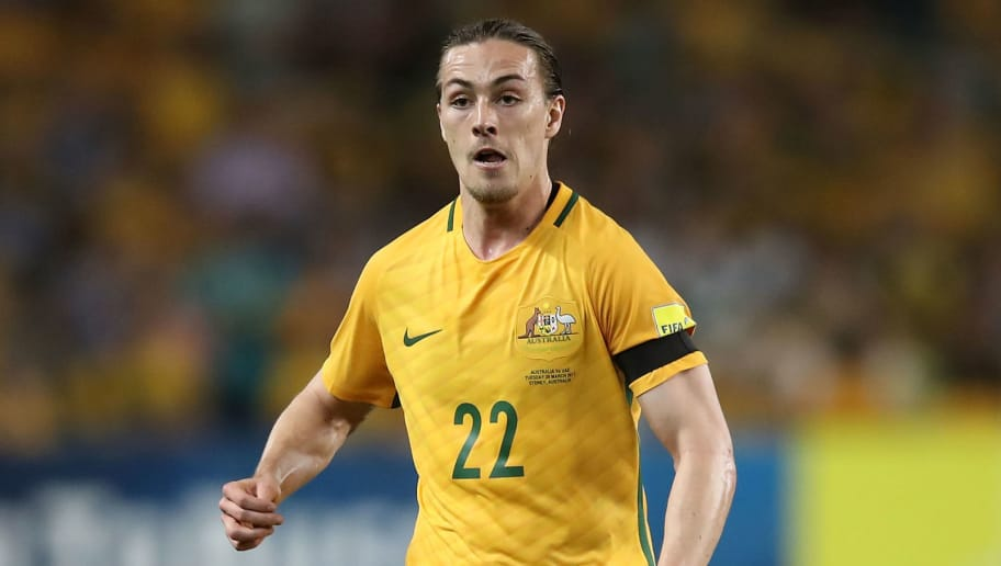 SYDNEY, AUSTRALIA - MARCH 28:  Jackson Irvine of the Socceroos runs the ball forward during the 2018 FIFA World Cup Qualifier match between the Australian Socceroos and United Arab Emirates at Allianz Stadium on March 28, 2017 in Sydney, Australia.  (Photo by Mark Kolbe/Getty Images)
