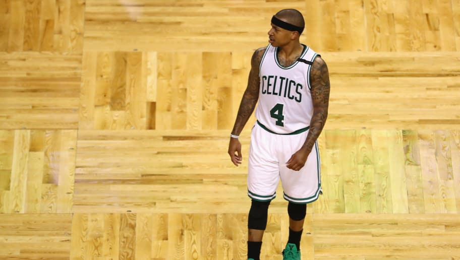 BOSTON, MA - MAY 19:  Isaiah Thomas #4 of the Boston Celtics reacts in the first half against the Cleveland Cavaliers during Game Two of the 2017 NBA Eastern Conference Finals at TD Garden on May 19, 2017 in Boston, Massachusetts. NOTE TO USER: User expressly acknowledges and agrees that, by downloading and or using this photograph, User is consenting to the terms and conditions of the Getty Images License Agreement.  (Photo by Tim Bradbury/Getty Images)