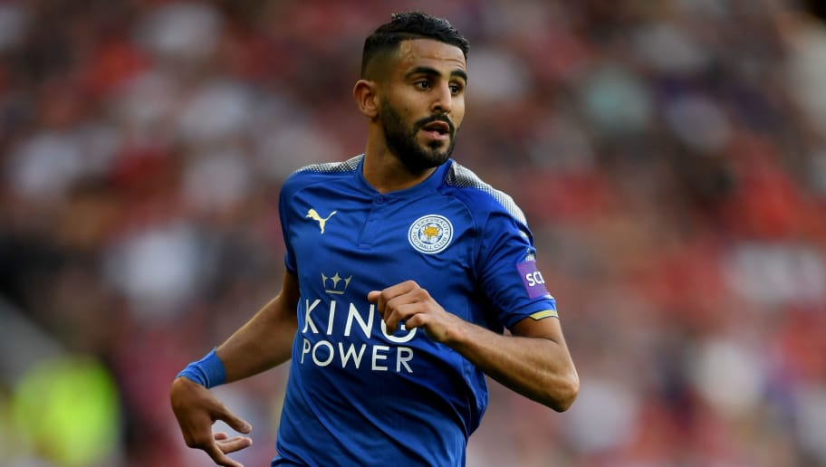 MANCHESTER, ENGLAND - AUGUST 26:  Ryiad Mahrez of Leicester City in action during the Premier League match between Manchester United and Leicester City at Old Trafford on August 26, 2017 in Manchester, England.  (Photo by Ross Kinnaird/Getty Images)