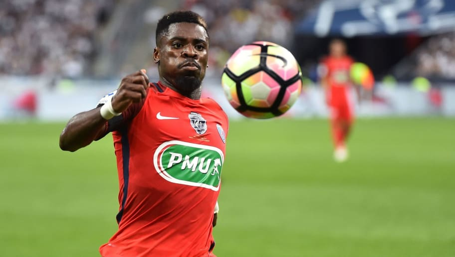 Paris Saint-Germain's Ivorian defender Serge Aurier controls the ball  during the French Cup final football match between Paris Saint-Germain (PSG) and Angers (SCO) on May 27, 2017, at the Stade de France in Saint-Denis, north of Paris. / AFP PHOTO / JEAN-FRANCOIS MONIER        (Photo credit should read JEAN-FRANCOIS MONIER/AFP/Getty Images)