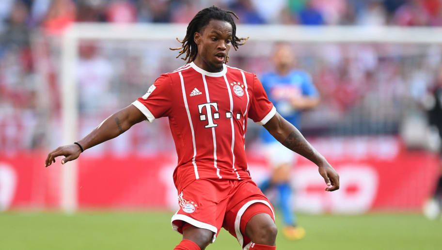 Bayern Munich's Portuguese midfielder Renato Sanches plays the ball during the third place Audi Cup football match between SSC Napoli and Bayern Munich in the stadium in Munich, southern Germany, on August 2, 2017.  / AFP PHOTO / Christof STACHE / RESTRICTIONS: ACCORDING TO DFB RULES IMAGE SEQUENCES TO SIMULATE VIDEO IS NOT ALLOWED DURING MATCH TIME. MOBILE (MMS) USE IS NOT ALLOWED DURING AND FOR FURTHER TWO HOURS AFTER THE MATCH. == RESTRICTED TO EDITORIAL USE == FOR MORE INFORMATION CONTACT DFB DIRECTLY AT +49 69 67880   /         (Photo credit should read CHRISTOF STACHE/AFP/Getty Images)