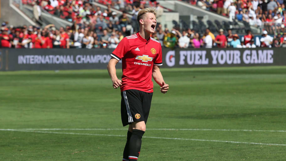 Manchester United midfielder Scott McTominay reacts after missing a penalty kick shootout against Real Madrid in the International Champions Cup match on July 23, 2017 in Santa Clara, California.  / AFP PHOTO / Beck Diefenbach        (Photo credit should read BECK DIEFENBACH/AFP/Getty Images)