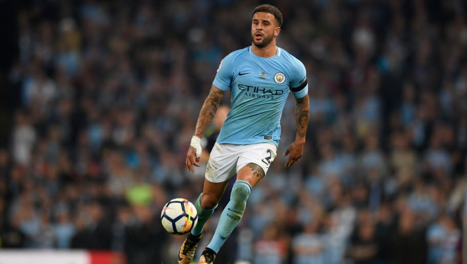 MANCHESTER, ENGLAND - AUGUST 21:  Manchester City player Kyle Walker in action during the Premier League match between Manchester City and Everton at Etihad Stadium on August 21, 2017 in Manchester, England.  (Photo by Stu Forster/Getty Images)
