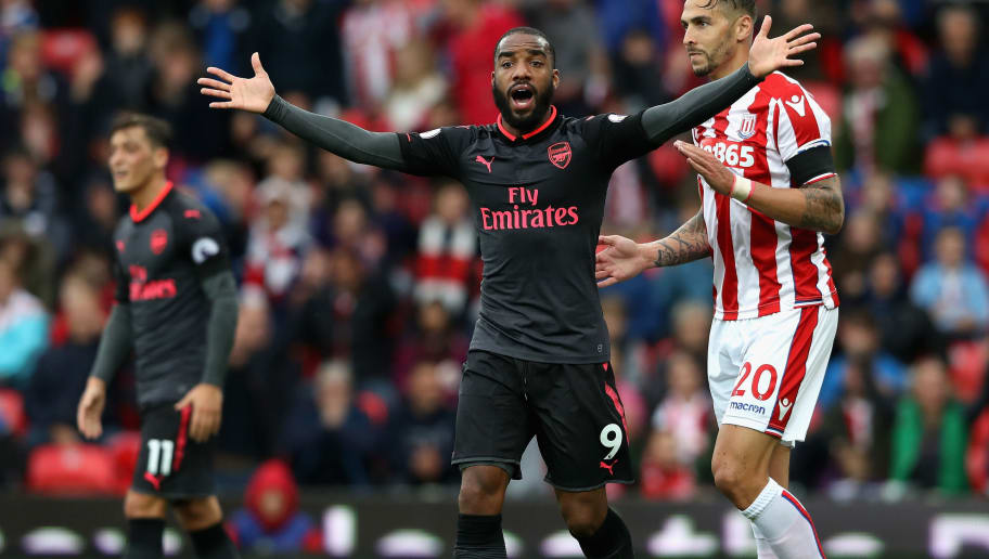 STOKE ON TRENT, ENGLAND - AUGUST 19: Alexandre Lacazette of Arsenal reacts to having his goal rulled for offisde during the Premier League match between Stoke City and Arsenal at Bet365 Stadium on August 19, 2017 in Stoke on Trent, England.  (Photo by David Rogers/Getty Images)