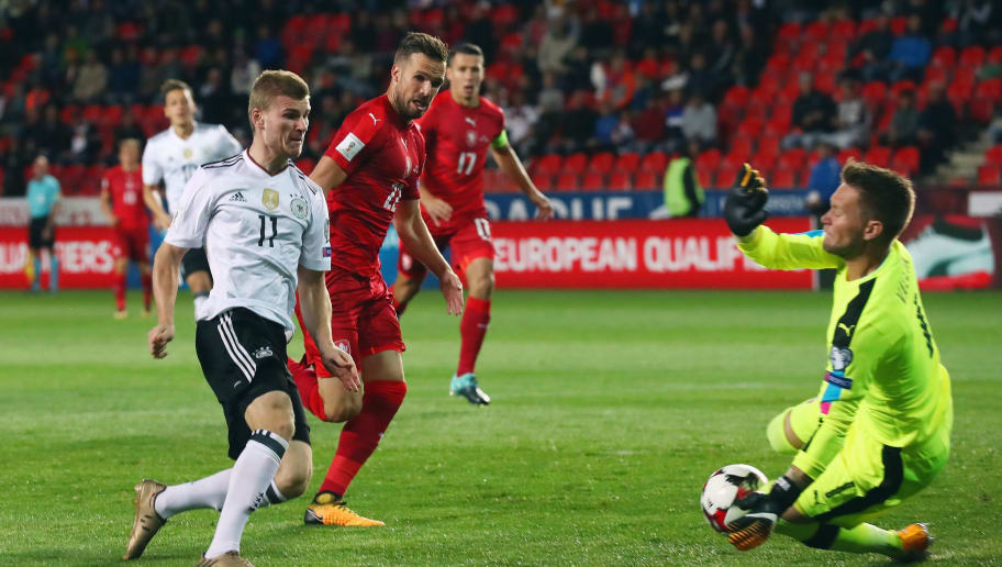 PRAGUE, CZECH REPUBLIC - SEPTEMBER 01: Timo Werner of Germany scores his team's first goal past goalkeeper Tomas Vaclik of Czech Republik during the FIFA World Cup Russia 2018 Group C Qualifier between Czech Republic and Germany at Eden Arena on September 1, 2017 in Prague, Czech Republic.  (Photo by Alexander Hassenstein/Bongarts/Getty Images)