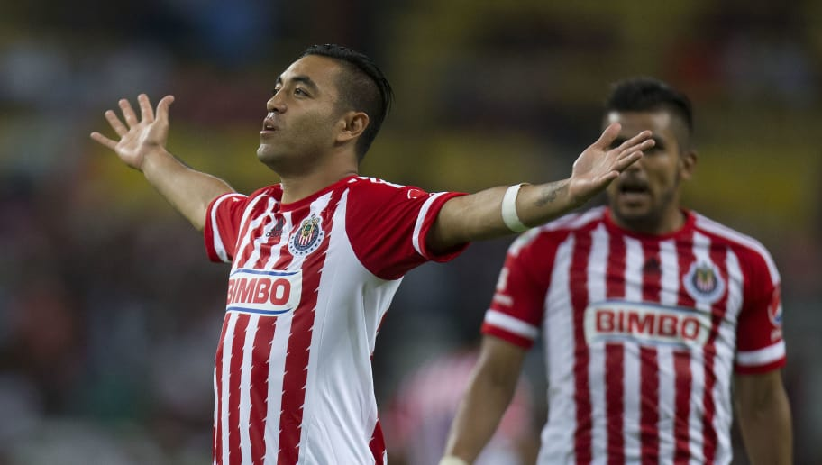 GUADALAJARA, MEXICO - NOVEMBER 11: Marco Fabian of Chivas celebrates after scoring the opening goal during the 14th round match between Atlas and Chivas as part of the Apertura 2015 Liga MX at Jalisco Stadium on November 11, 2015 in Guadalajara, Mexico. (Photo by Refugio Ruiz/LatinContent/Getty Images)