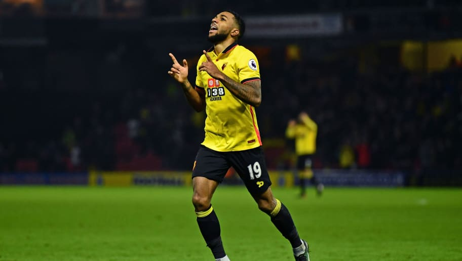 WATFORD, ENGLAND - JANUARY 07:  Jerome Sinclair of Watford celebrates after scoring his sides second goal during The Emirates FA Cup Third Round match between Watford and Burton Albion at Vicarage Road on January 7, 2017 in Watford, England.  (Photo by Dan Mullan/Getty Images)