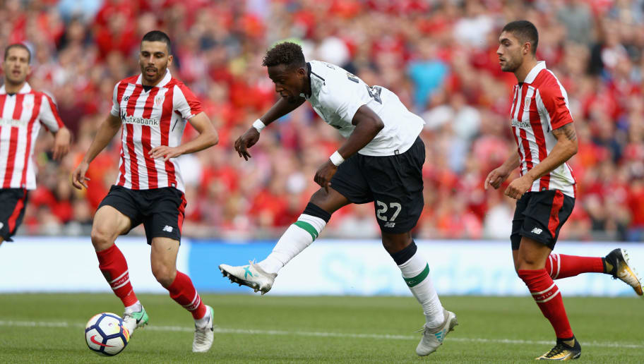 DUBLIN, IRELAND - AUGUST 5: Divock Origi of Liverpool attempts a shot at goal during the Pre Season Friendly match between Liverpool and Athletic Club at Aviva Stadium on August 5, 2017 in Dublin, Ireland.  (Photo by Ian Walton/Getty Images)