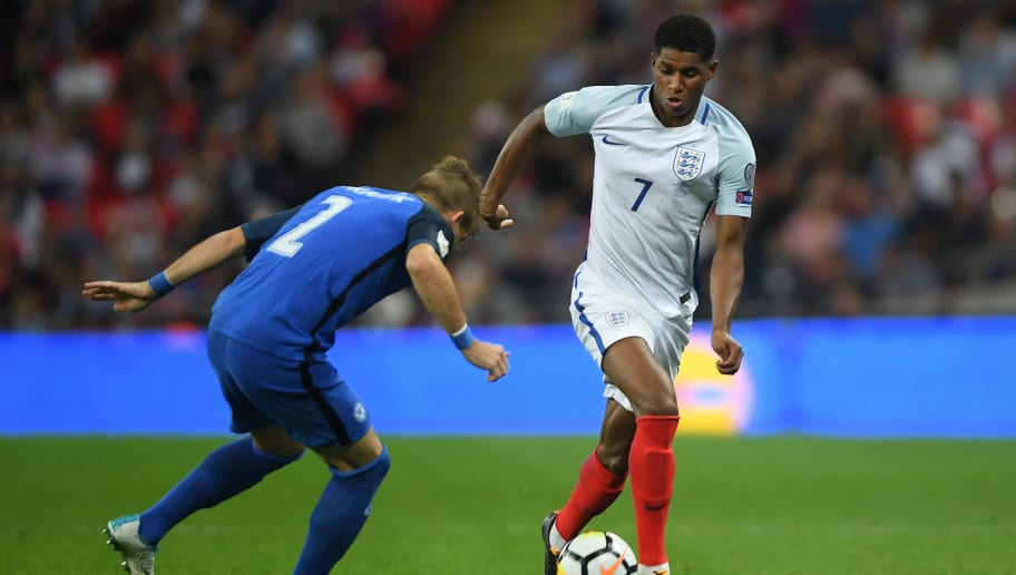 LONDON, ENGLAND - SEPTEMBER 04:  Marcus Rashford of England in action during the FIFA 2018 World Cup Qualifier between England and Slovakia at Wembley Stadium on September 4, 2017 in London, England.  (Photo by Mike Hewitt/Getty Images)