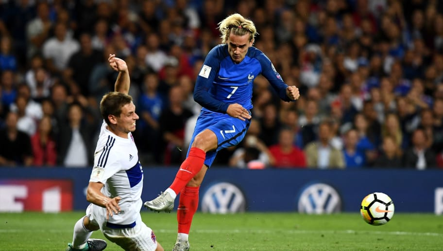 France's forward Antoine Griezmann kicks the ball during the FIFA World Cup 2018 qualifying football match between France and Luxembourg on September 3, 2017 at the Municipal Stadium in Toulouse, southern France.   / AFP PHOTO / FRANCK FIFE        (Photo credit should read FRANCK FIFE/AFP/Getty Images)