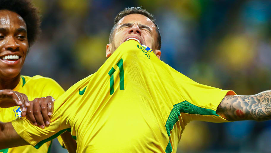 PORTO ALEGRE, BRAZIL - AUGUST 31: Philippe Coutinho of Brazil celebrates their second goal during the match Brazil v Equador - 2018 FIFA World Cup Russia Qualifier, at Arena do Gremio on August 31, 2017, in Porto Alegre, Brazil. (Photo by Lucas Uebel/Getty Images)
