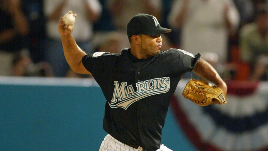 MIAMI - OCTOBER 22:  Ugueth Urbina #74 of the Florida Marlins delivers a pitch in the ninth inning in game four of the Major League Baseball World Series against the New York Yankees on October 22, 2003 at Pro Player Stadium in Miami, Florida.  (Photo by Jed Jacobsohn/Getty Images)