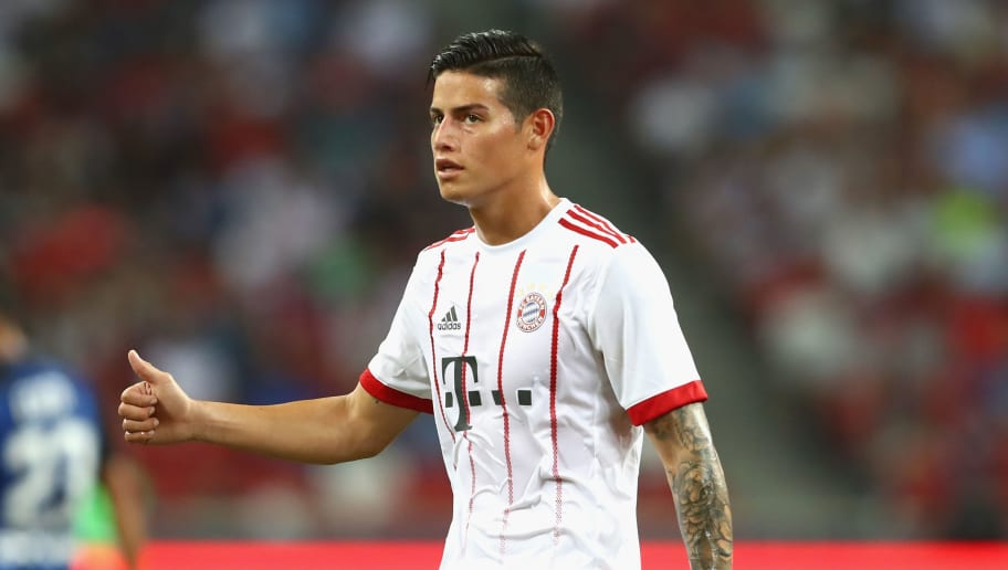 SINGAPORE - JULY 27:  James Rodriguez  of Bayern Muenchen reacts during the International Champions Cup 2017 match between Bayern Muenchen and Inter Milan at National Stadium on July 27, 2017 in Singapore, Singapore.  (Photo by Alexander Hassenstein/Bongarts/Getty Images)
