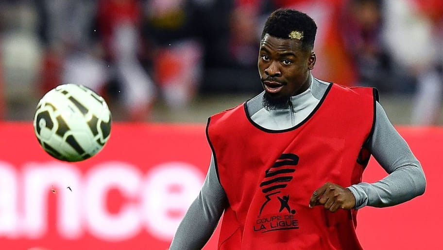 Paris Saint-Germain's Ivorian defender Serge Aurier warms up ahead of the French League Cup final football match between Paris Saint-Germain (PSG) and Monaco (ASM) on April 1, 2017, at the Parc Olympique Lyonnais stadium in Decines-Charpieu, near Lyon. / AFP PHOTO / FRANCK FIFE        (Photo credit should read FRANCK FIFE/AFP/Getty Images)