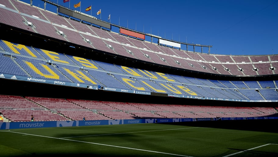 BARCELONA, SPAIN - AUGUST 13:  General view inside the stadium prior to the Supercopa de Espana Supercopa Final 1st Leg match between FC Barcelona and Real Madrid at Camp Nou on August 13, 2017 in Barcelona, Spain.  (Photo by Manuel Queimadelos Alonso/Getty Images,)