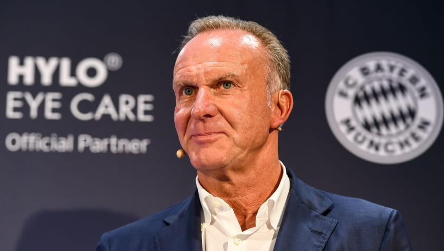 MUNICH, GERMANY - AUGUST 16: Karl-Heinz Rummenigge, CEO of FC Bayern Muenchen AG, addresses the media during the presentation of the new partnership of FC Bayern Muenchen and HYLO Eye Care on August 16, 2017 in Munich, Germany. (Photo by Lennart Preiss/Bongarts/Getty Images)