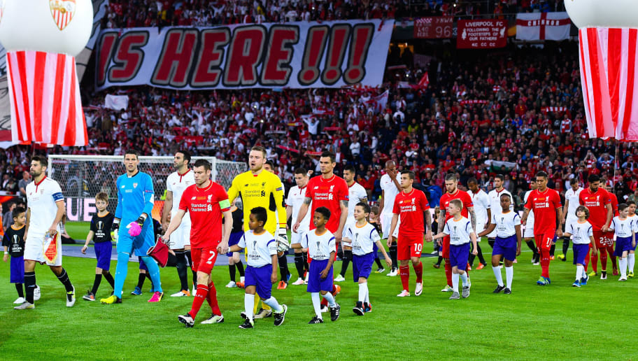 BASEL, SWITZERLAND - MAY 18:  Liverpool and Sevilla players walk onto the pitch prior to the UEFA Europa League Final matach between Liverpool and Sevilla at St. Jakob-Park on May 18, 2016 in Basel, Basel-Stadt.  (Photo by David Ramos/Getty Images)