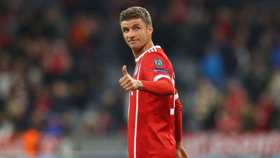 MUNICH, GERMANY - SEPTEMBER 12:  Thomas Mueller of Bayern Muenchen reacts during the UEFA Champions League group B match between FC Bayern Muenchen and RSC Anderlecht at Allianz Arena on September 12, 2017 in Munich, Germany.  (Photo by Alexander Hassenstein/Bongarts/Getty Images)