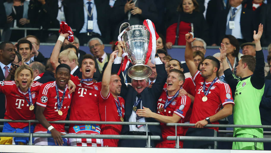 LONDON, ENGLAND - MAY 25:  Head Coach Jupp Heynckes of Bayern Muenchen lifts the trophy in celebration alongside his players after victory in the UEFA Champions League final match between Borussia Dortmund and FC Bayern Muenchen at Wembley Stadium on May 25, 2013 in London, United Kingdom.  (Photo by Alex Grimm/Getty Images)