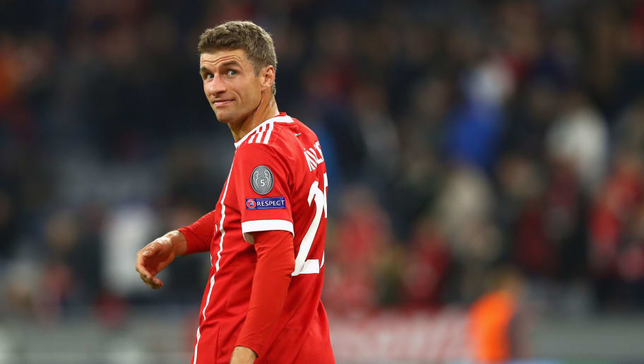MUNICH, GERMANY - SEPTEMBER 12:  Thomas Mueller of Bayern Muenchen looks on during the UEFA Champions League group B match between FC Bayern Muenchen and RSC Anderlecht at Allianz Arena on September 12, 2017 in Munich, Germany.  (Photo by Alexander Hassenstein/Bongarts/Getty Images)