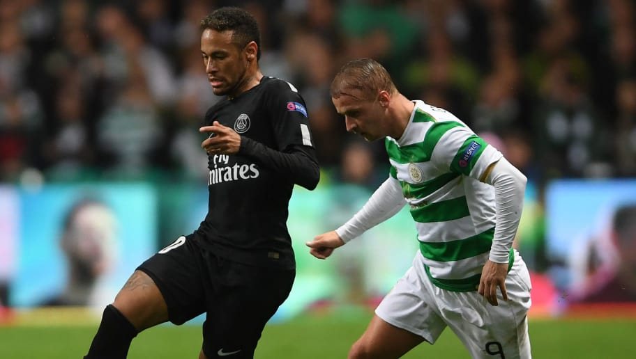 GLASGOW, SCOTLAND - SEPTEMBER 12:  Neymar of Paris Saint Germain gets past Leigh Griffiths of Celtic during the UEFA Champions League Group B match between Celtic and Paris Saint Germain at Celtic Park on September 12, 2017 in Glasgow, Scotland.  (Photo by Mike Hewitt/Getty Images)