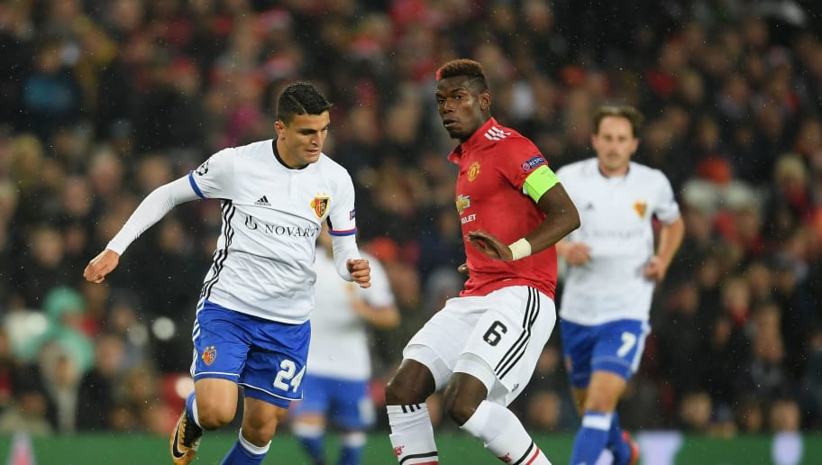MANCHESTER, ENGLAND - SEPTEMBER 12: Paul Pogba of Manchester United in action during the UEFA Champions League Group A match between Manchester United and FC Basel at Old Trafford on September 12, 2017 in Manchester, United Kingdom.  (Photo by Laurence Griffiths/Getty Images)