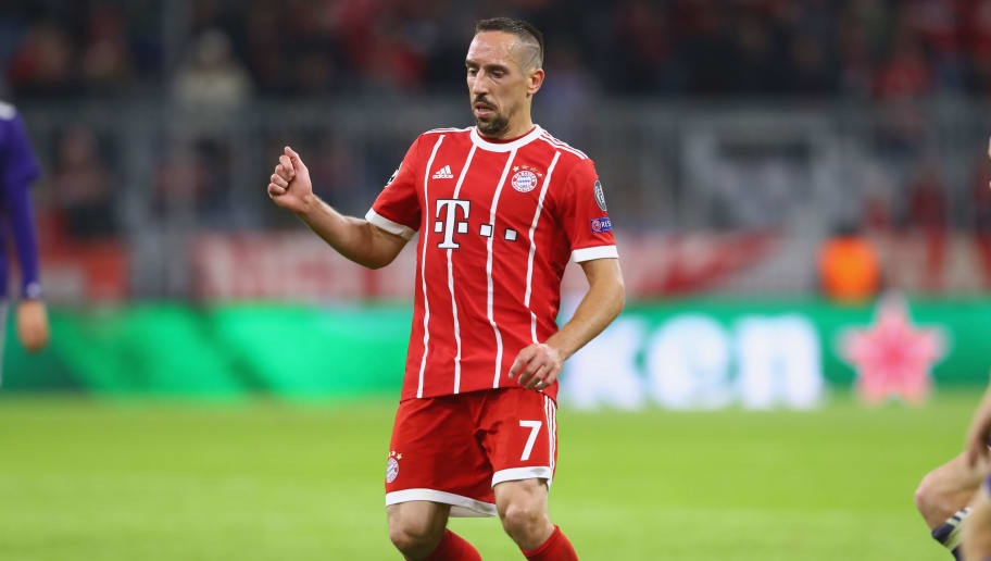 MUNICH, GERMANY - SEPTEMBER 12:  Franck Ribery of Bayern Muenchen runs with the ball during the UEFA Champions League group B match between FC Bayern Muenchen and RSC Anderlecht at Allianz Arena on September 12, 2017 in Munich, Germany.  (Photo by Alexander Hassenstein/Bongarts/Getty Images)